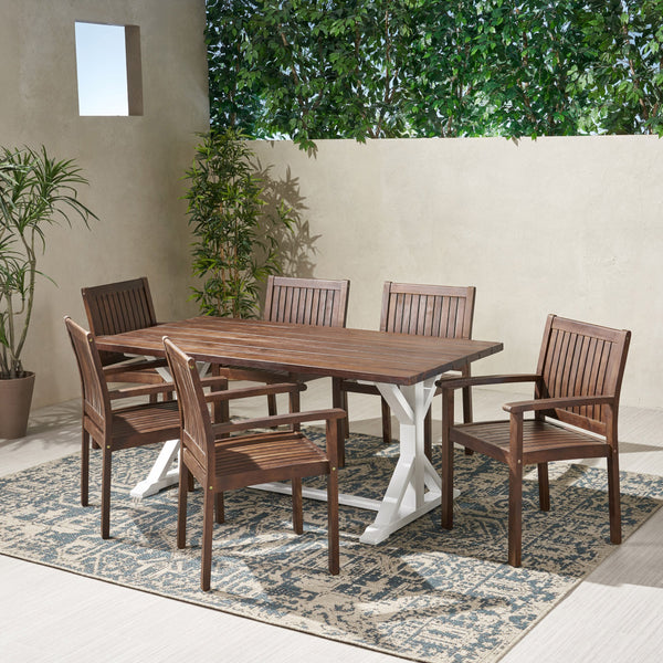 Outdoor Rustic Farmhouse Acacia Wood 7 Piece Dining Set - NH839603
