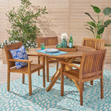 Outdoor Five Piece Acacia Dining Set, Teak Finish - NH634503