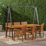 Outdoor 6 Seater Acacia Wood and Iron Planter Dining Set - NH737903