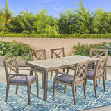Outdoor Farmhouse Slat-Top 7 Piece Acacia Wood Dining Set with Cushions - NH877503