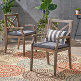 Outdoor Acacia Wood Dining Chair (Set of 2), Grey with Grey Cushions - NH186403