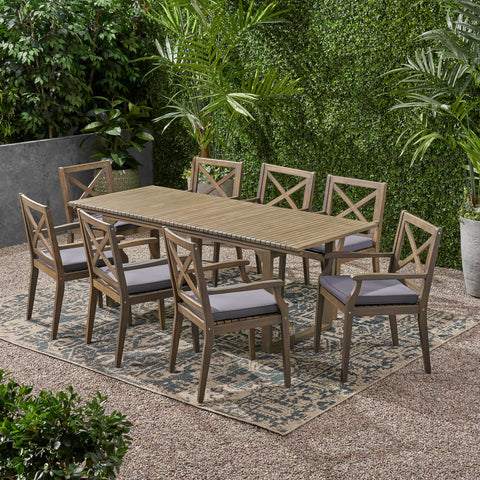 Outdoor 8 Seater Expandable Acacia Wood Dining Set - NH786903