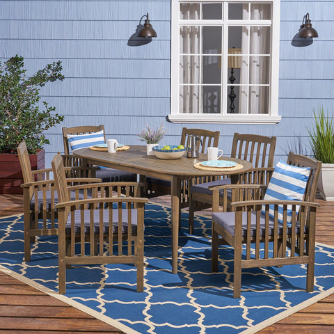 "Acacia Patio Dining Set, 6-Seater, 71"" Oval Table with Straight Legs - NH922703"