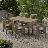 Outdoor 6 Seater Expandable Acacia Wood Dining Set - NH386903
