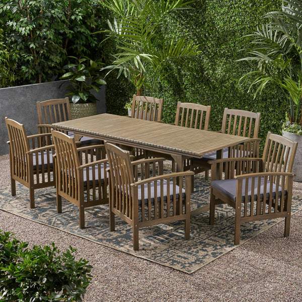 Outdoor 8 Seater Expandable Acacia Wood Dining Set - NH486903