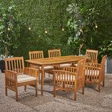 "Outdoor Acacia 6-Seater Dining Set with Cushions and 71"" Rectangular Table with Straight Legs - NH022703"