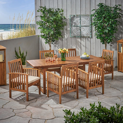 Outdoor 6 Seater Expandable Acacia Wood Dining Set - NH086903
