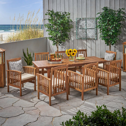 Outdoor 8 Seater Expandable Acacia Wood Dining Set - NH186903