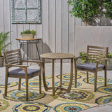 "Outdoor Acacia 2-Seater Bistro Set with Cushions and 28"" Round Table with Closed Legs - NH832703"