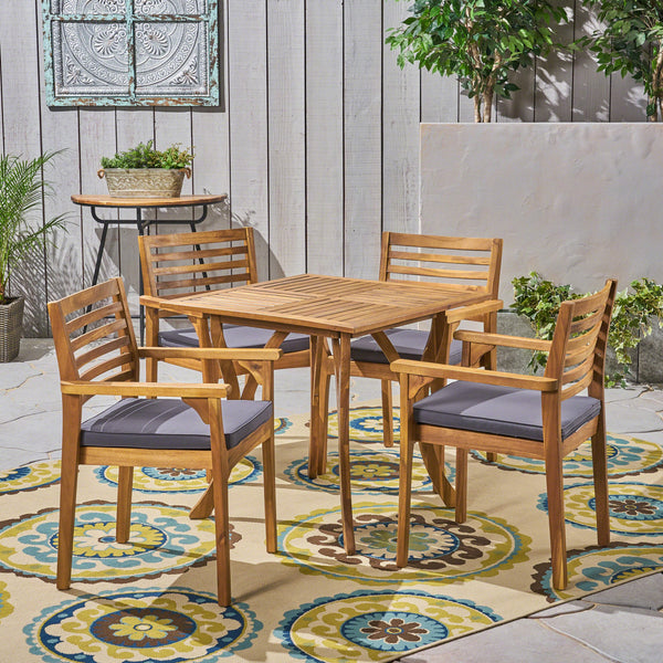 "Outdoor Acacia 4-Seater Dining Set with Cushions and 32"" Square Table with Carved Legs - NH932703"