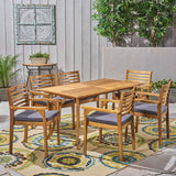 "Outdoor Acacia 6-Seater Dining Set with Cushions and 59"" Rectangular Table with Carved Legs - NH042703"
