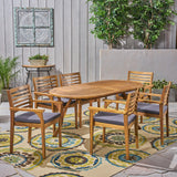 "Outdoor Acacia 6-Seater Dining Set with Cushions and 70"" Oval Table with Carved Legs - NH142703"