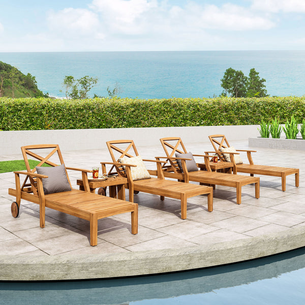 Outdoor Acacia Wood 6 Piece Chaise Lounge Set - NH647213