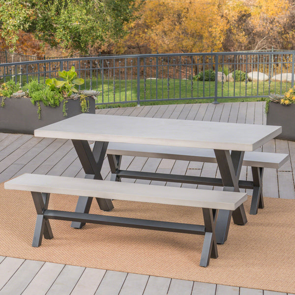 Outdoor 4 Seater Bench Dining Set - NH583303