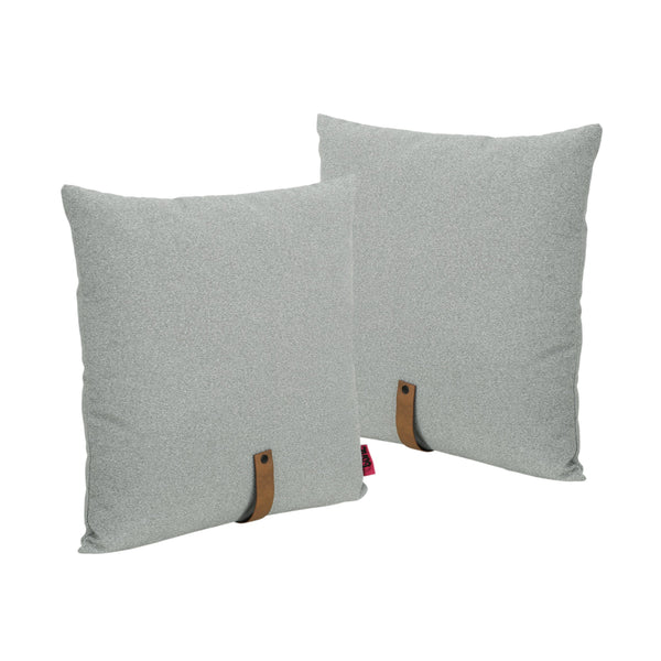 "Mid Century 20"" Square Fabric Pillow with Faux Leather Strap (Set of 2) - NH983503"