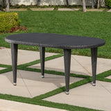 Outdoor 69 Inch Wicker Oval Dining Table - NH336203
