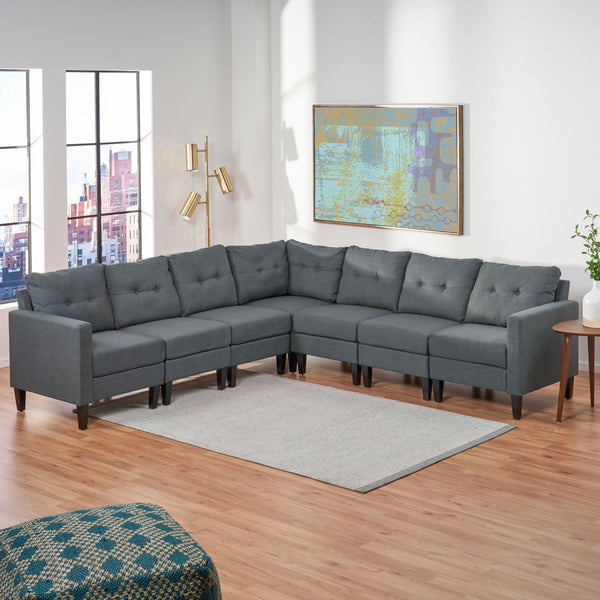 Mid Century Modern 7 Piece Fabric Extended Sectional Sofa - NH906303