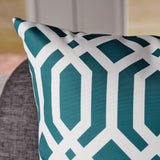 Indoor Dark Teal Arabesque Patterned Water Resistant Rectangular Throw Pillow - NH988203