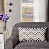 Indoor Grey, Blue, and Brown Zig Zag Striped Water Resistant Rectangular Throw Pillow - NH798203