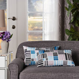 Indoor Patchwork Grey and Blue Abstract Mosaic Patterned Water Resistant Rectangular Throw Pillow - NH998203