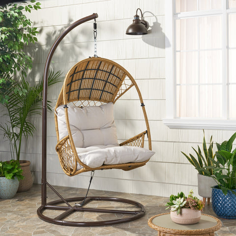Outdoor Wicker Hanging Basket / Egg Chair with Stand - NH168113