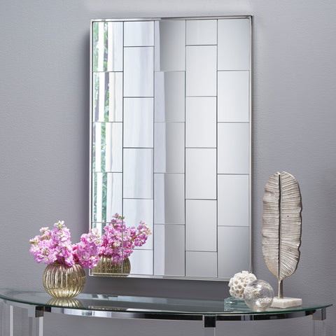 Glam Rectangular Brick Patterned Reflective Wall Mirror - NH457303