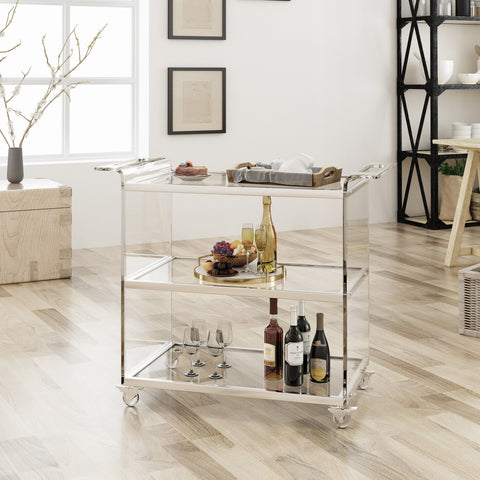 Acrylic Bar Trolley with Glass Shelves, Clear - NH079403