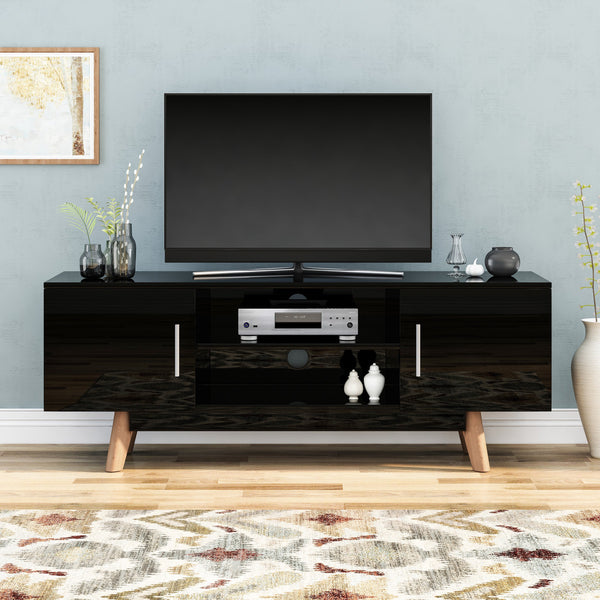 Mid Century Modern 2 Cabinets & Shelves TV Stand - NH376903