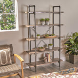 Industrial Pipe Design 5-Shelf Etagere Bookcase - NH513503