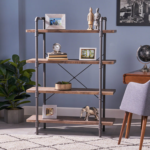 Industrial Pipe Design 4-Shelf Etagere Bookcase - NH713503