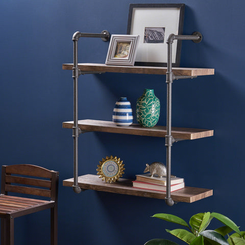 Industrial Three Tier Faux Wood Wall-Mounted Shelf, Dark Brown Finish - NH342503