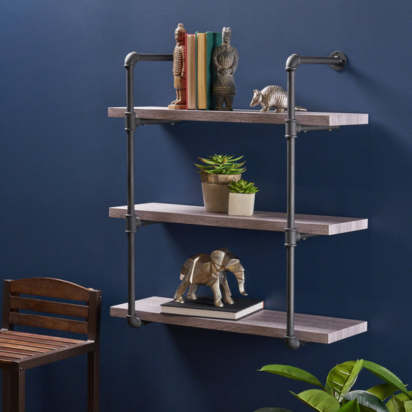Industrial Pipe Design 3-Tier Wall Mount Floating Shelf - NH023503