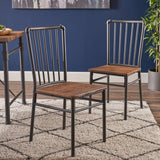 Industrial Textured Brown Steel and Wood Finished Chairs (Set of 2) - NH832503