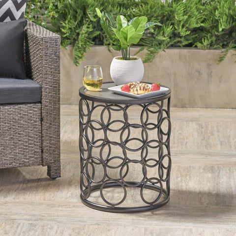 Outdoor 16 Inch Grey Finish Ceramic Tile Side Table - NH502403