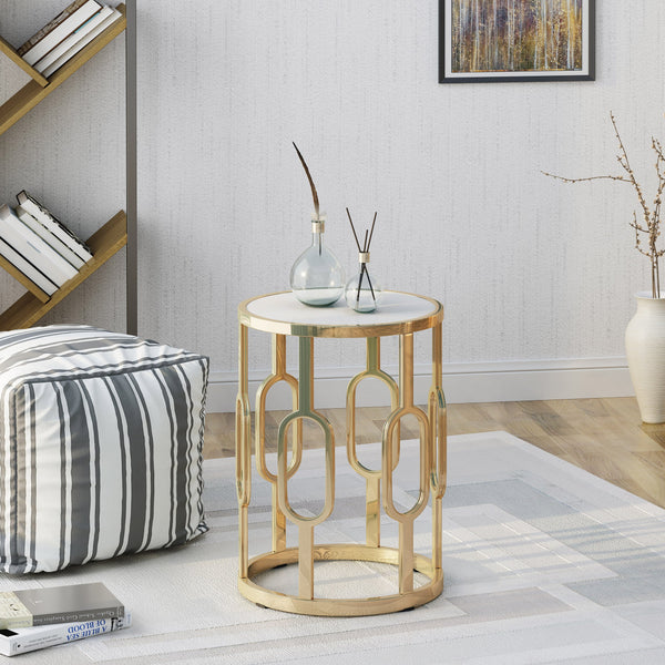 Glam 16 Inch White Finish Faux Stone Side Table - NH412403