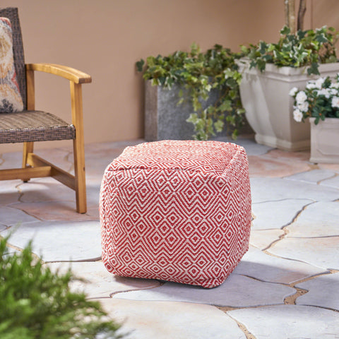 Outdoor Handcrafted Boho Water-Resistant Pouf - NH048403