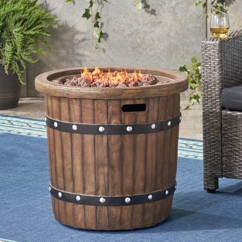 Outdoor 25-inch Light-Weight Concrete Round Fire Pit 40K BTU, Dark Brown - NH584403