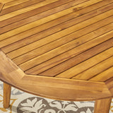 Outdoor Rustic Slat-Top Acacia Wood Oval Dining Table with Tapered Legs - NH130603