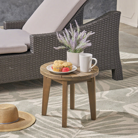Outdoor 16-inch Acacia Wood Side Table - NH648503