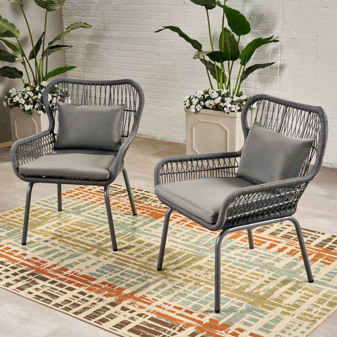 Outdoor Club Chairs, Steel and Rope, Water-Resistant Cushions, Boho - NH705703