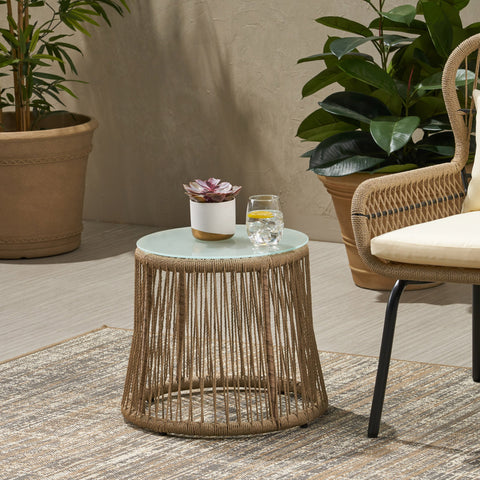 Outdoor Side Table, Steel and Rope, Tempered Glass Table Top, Boho - NH015703