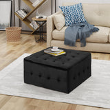 Modern Glam Tufted Waffle Stitch Velvet Square Ottoman Coffee Table - NH574403