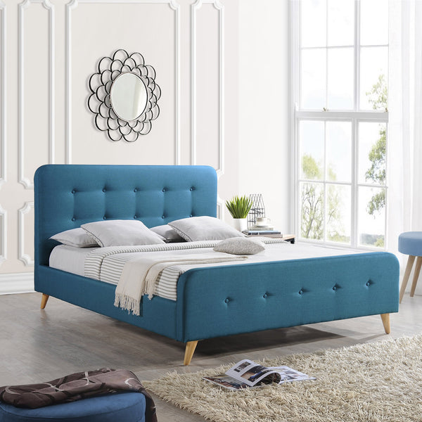 Modern Glam Button-Tufted Queen Velvet Bed Frame with Splayed Legs - NH116403