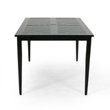 Outdoor 71 Inch Aluminum Rectangular Dining Table, Matte Black - NH553803