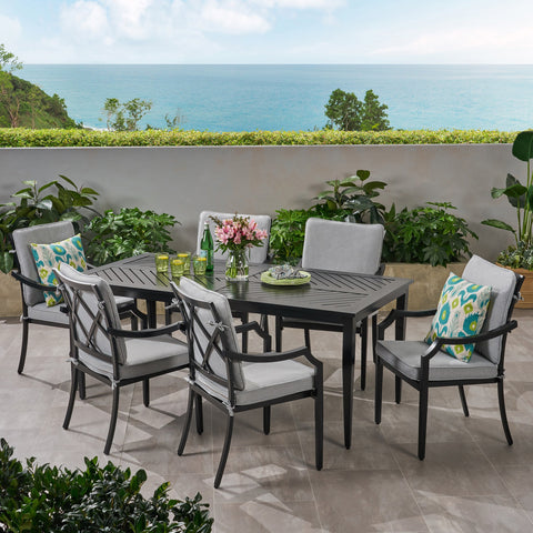 Diego Outdoor 6 Seater Aluminum Rectangular Dining Set - NH893803