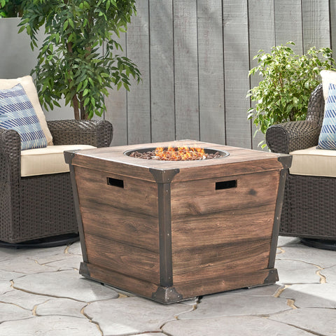 Outdoor Brown 32 Inch Square Fire Pit - 40,000 BTU - NH247303
