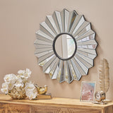 Modern glam Circular Pleated Flower Wall Accent Mirror - NH082403