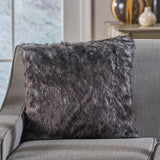 Furry Glam Black and White Streak Faux Fur Throw Pillow - NH432403