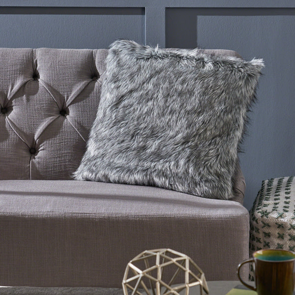 Furry GlamDark Grey and Light Grey Streak Faux Fur Throw Pillow - NH642403