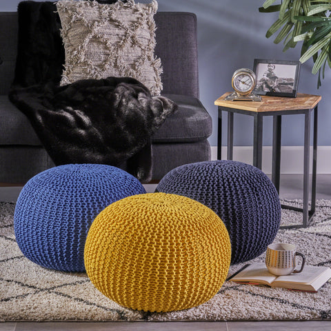 Knitted Cotton Pouf - NH534403